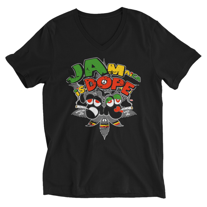 White Jamaica Is Dope V-Neck T-Shirt for Him