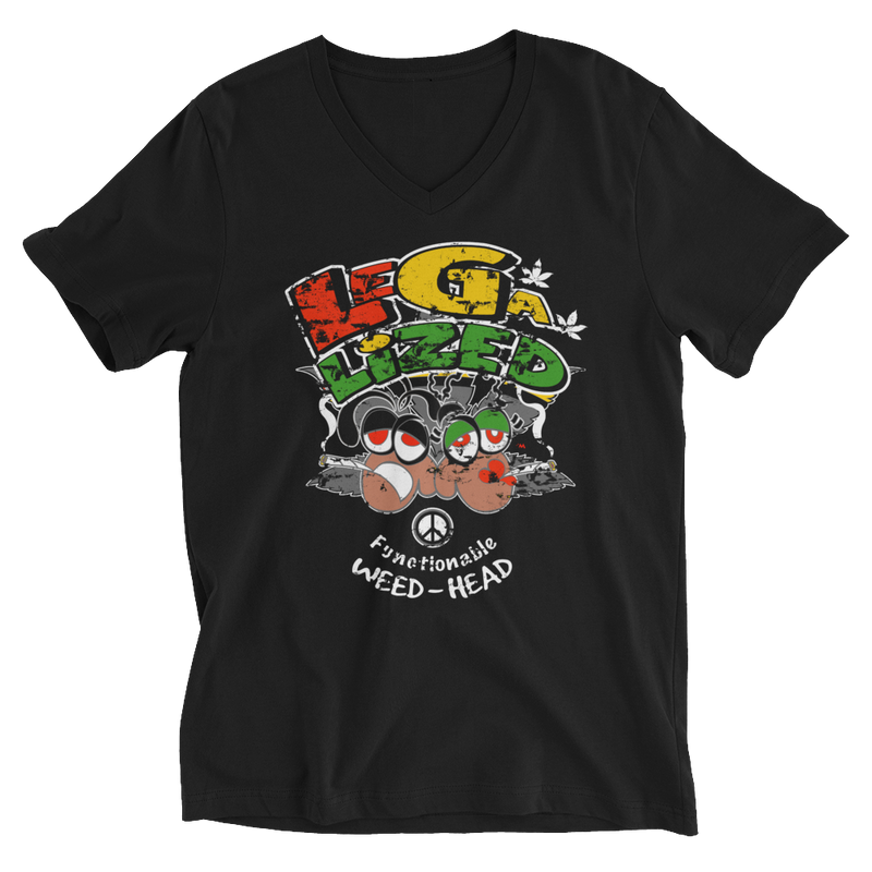 Reggae Legalized Weed Head V-Neck T-Shirt for Him