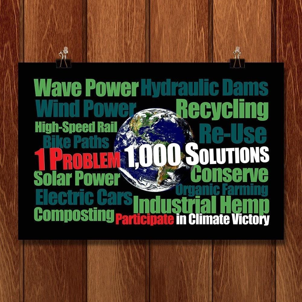 "1 Problem 1,000 Solutions by E. Michelle Peterson 18"" by 12"" Print / Unframed Print Climate Victory"