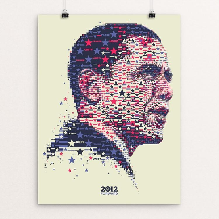 "2012 Stars and Stripes by Charis Tsevis 12"" by 16"" Print / Unframed Print Design for Obama"