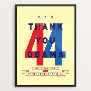 "44 by Brandon Kish 12"" by 16"" Print / Framed Print Design For Obama"