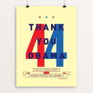 "44 by Brandon Kish 12"" by 16"" Print / Unframed Print Design For Obama"