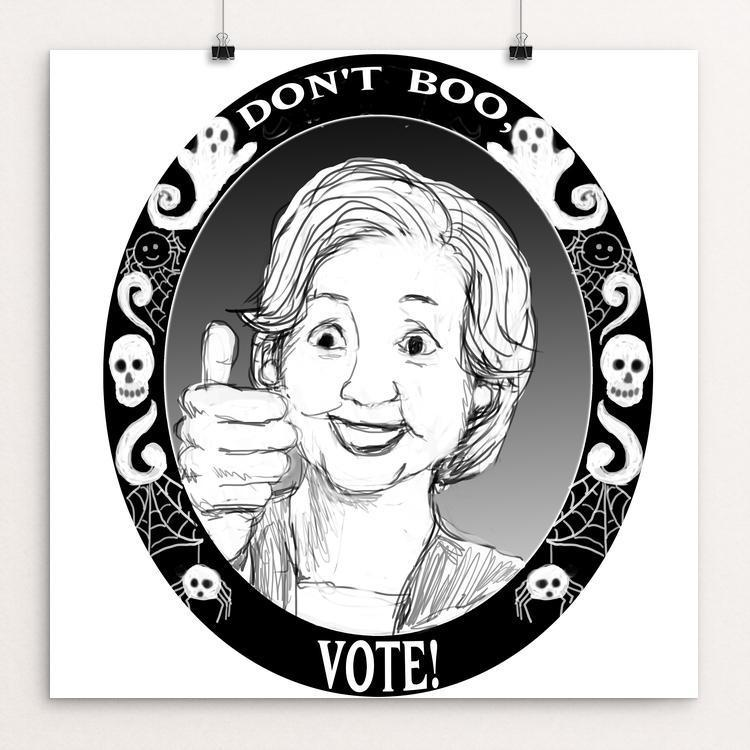 "A Big Thumbs Up for the Vote! by Lyla Paakkanen 12"" by 12"" Print / Unframed Print Don't Boo, Vote"