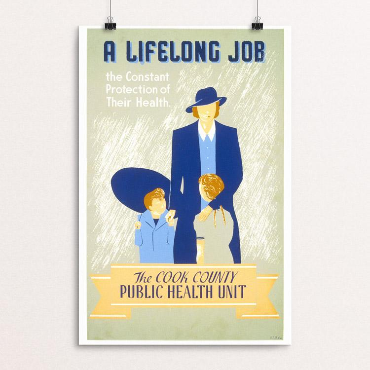 "A Lifelong Job by E.S. Reid 12"" by 18"" Print / Unframed Print WPA Federal Art Project"