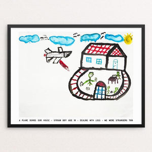 "A Plane Bombs our House by David Gross 12"" by 16"" Print / Framed Print We Were Strangers Too"