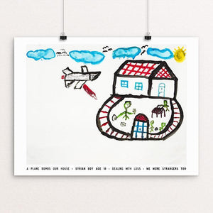 "A Plane Bombs our House by David Gross 12"" by 16"" Print / Unframed Print We Were Strangers Too"