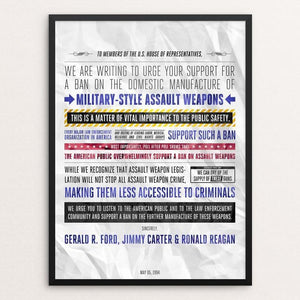 "A Plea from Three Ex-Presidents by Aaron Perry-Zucker 12"" by 16"" Print / Framed Print The Gun Show"