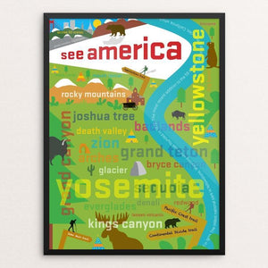"A Typographic Tour by Lloyd Smith 12"" by 16"" Print / Framed Print See America"