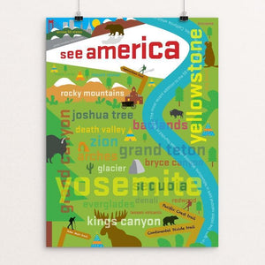 "A Typographic Tour by Lloyd Smith 12"" by 16"" Print / Unframed Print See America"