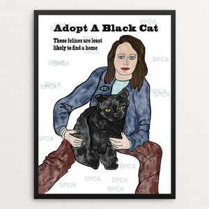 "Adopt A Black Cat by Luna 3 12"" by 16"" Print / Framed Print Creative Action Network"