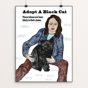 "Adopt A Black Cat by Luna 3 12"" by 16"" Print / Unframed Print Creative Action Network"