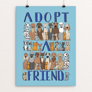 "Adopt A Friend by J Clement Wall 12"" by 16"" Print / Unframed Print Creative Action Network"