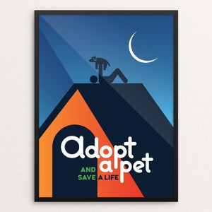 "Adopt a Pet and Save a Life by Luis Prado 12"" by 16"" Print / Framed Print Creative Action Network"