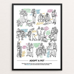 "Adopt A Pet by Danielle Deley 12"" by 16"" Print / Framed Print Creative Action Network"