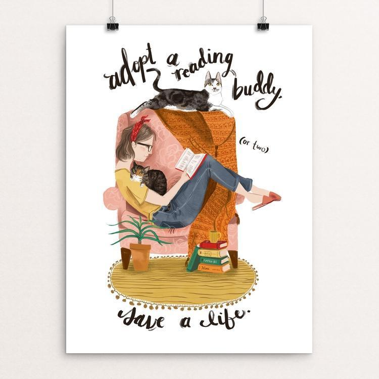 "Adopt a Reading Buddy by Caitlin Alexander 12"" by 16"" Print / Unframed Print Creative Action Network"