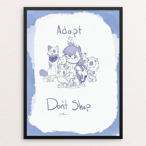 "Adopt Don't Shop by Edie Feldmann 12"" by 16"" Print / Framed Print Creative Action Network"