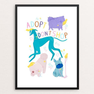 "Adopt Don't Shop by Lorraine Nam 12"" by 16"" Print / Framed Print Creative Action Network"