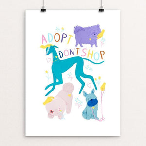 "Adopt Don't Shop by Lorraine Nam 12"" by 16"" Print / Unframed Print Creative Action Network"