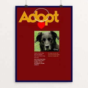 "Adopting Makes Us Happier 2 by Bob Rubin 12"" by 16"" Print / Unframed Print Creative Action Network"
