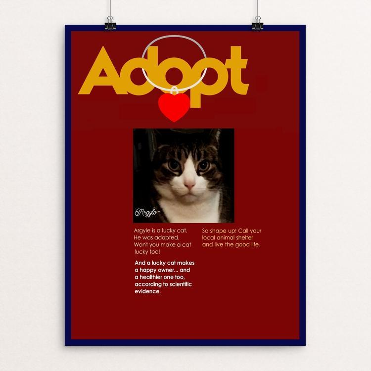 "Adopting Makes Us Happier 3 by Bob Rubin 12"" by 16"" Print / Unframed Print Creative Action Network"