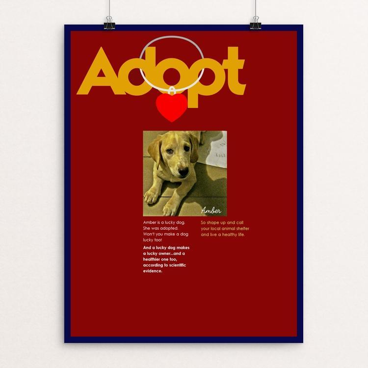 "Adopting Makes Us Happier by Bob Rubin 12"" by 16"" Print / Unframed Print Creative Action Network"