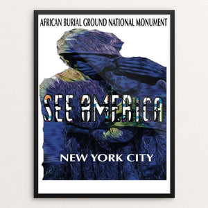 "African Burial Ground National Monument by Ginnie McKnight 12"" by 16"" Print / Framed Print See America"