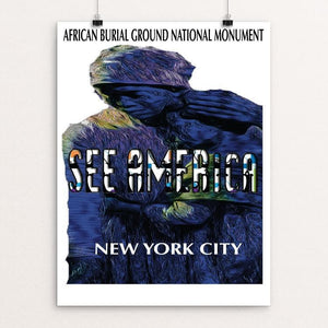 "African Burial Ground National Monument by Ginnie McKnight 12"" by 16"" Print / Unframed Print See America"