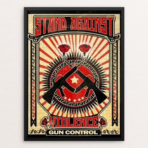 "Against Violence by David Garcia 12"" by 16"" Print / Framed Print The Gun Show"