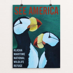 "Alaska Maritime National Wildlife Refuge -- Horned Puffins by Bruce and Scott Sink 12"" by 16"" Print / Unframed Print See America"