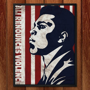 "Ali Denounces Violence by Mark Forton 18"" by 24"" Print / Framed Print Transcend - Moments in Sports that Changed the Game"
