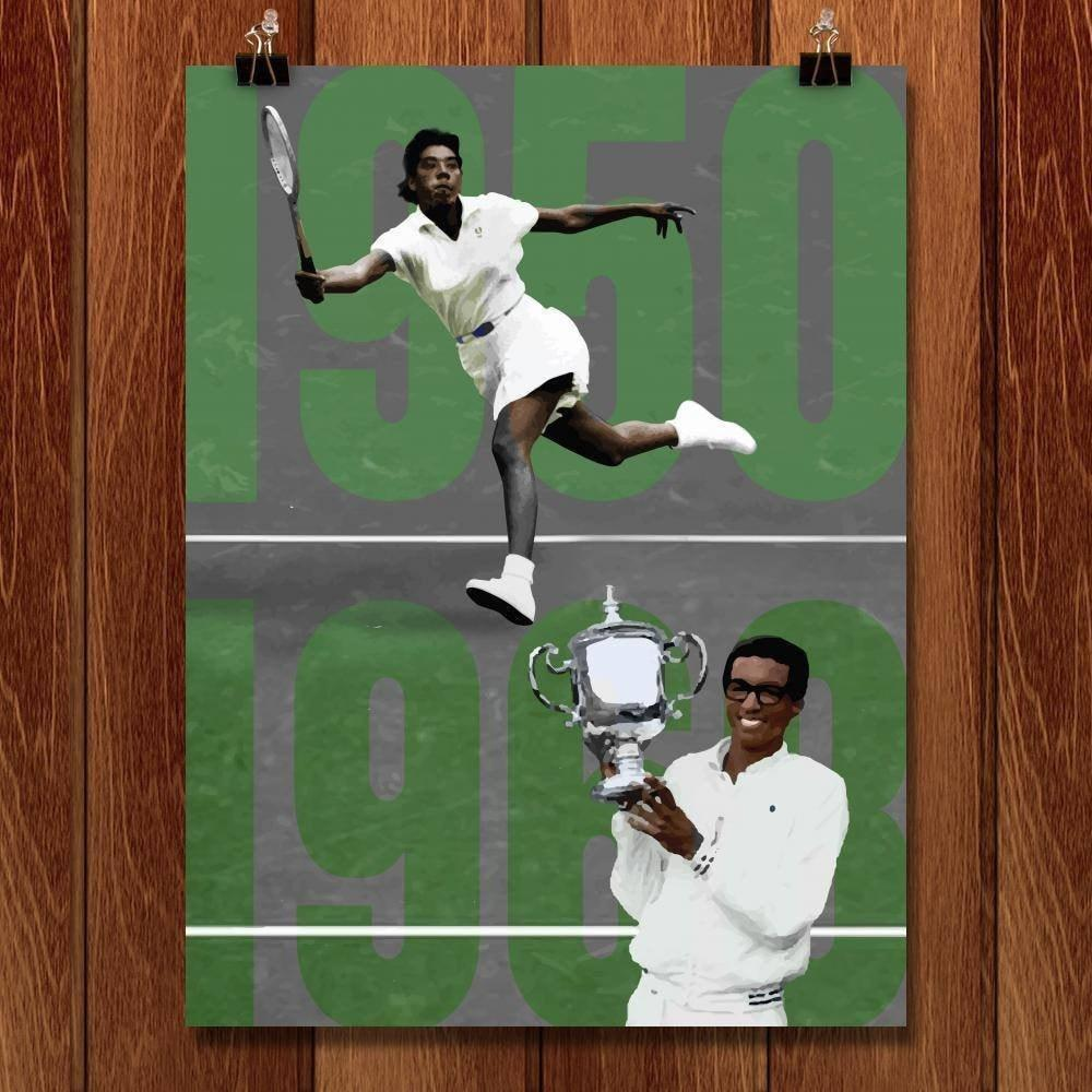 "Althea Gibson and Arthur Ashe, Tennis Pioneers  by Alexis Lampley 18"" by 24"" Print / Unframed Print Transcend - Moments in Sports that Changed the Game"