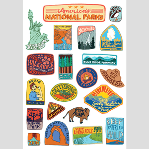 America's National Parks Sticker Sheet by Annie Riker 1 Pack Stickers See America