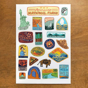 America's National Parks Sticker Sheet by Annie Riker