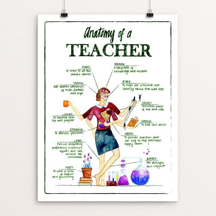 "Anatomy of a Teacher by Anike Nurnberger 12"" by 16"" Print / Unframed Print Creative Action Network"