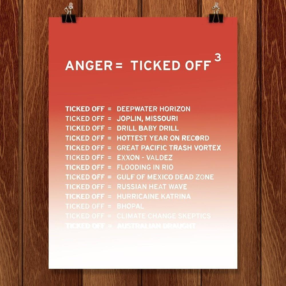 "Anger, first in a series from New Math by Craig Damrauer 12"" by 16"" Print / Unframed Print Green Patriot Posters"