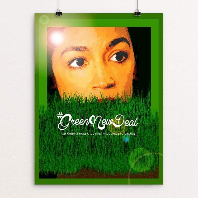 "AOC by Bob Rubin 18"" by 24"" Print / Unframed Print Green New Deal"