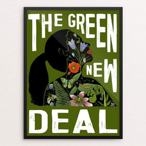 "AOC - Green New Deal by Brooke Fischer 18"" by 24"" Print / Framed Print Green New Deal"
