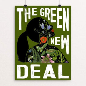 "AOC - Green New Deal by Brooke Fischer 18"" by 24"" Print / Unframed Print Green New Deal"