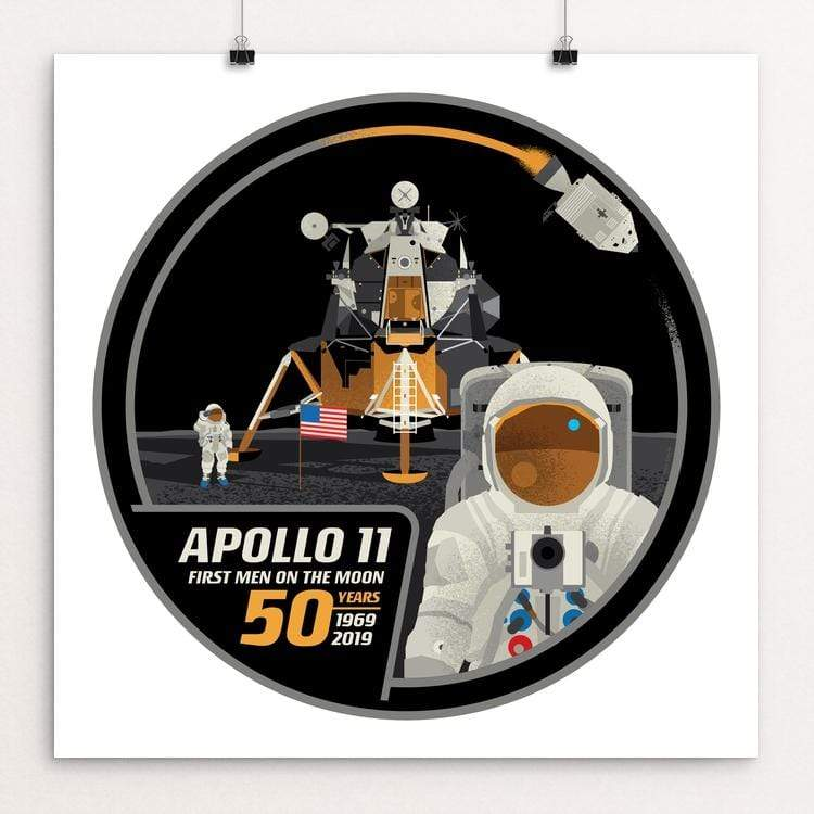 "Apollo 11: 50th Anniversary by Brixton Doyle 12"" by 12"" Print / Unframed Print Space Horizons"