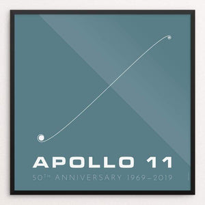 "Apollo 11 50th anniversary: Trajectory by Katarina Eriksson 12"" by 12"" Print / Framed Print Space Horizons"