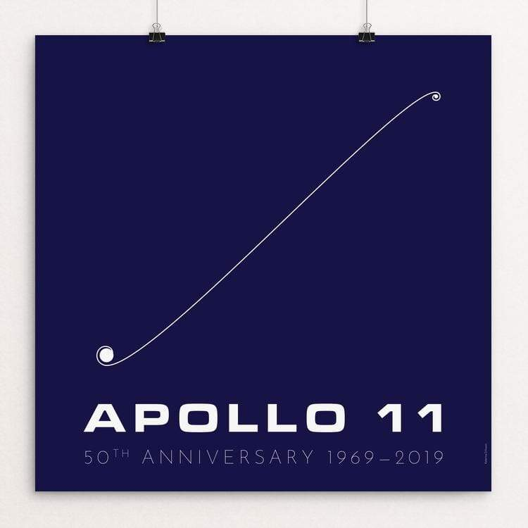 "Apollo 11 50th Anniversary: Trajectory by Katarina Eriksson 12"" by 12"" Print / Unframed Print Space Horizons"