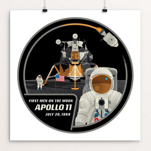 "Apollo 11 by Brixton Doyle 12"" by 12"" Print / Unframed Print Space Horizons"