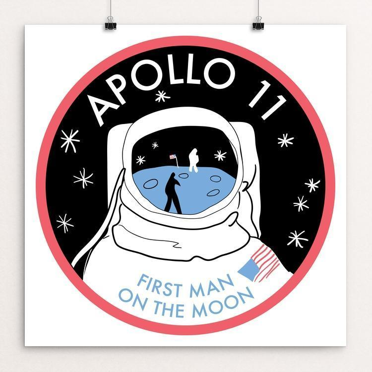 "Apollo 11 by Susanne Lamb 12"" by 12"" Print / Unframed Print Space Horizons"
