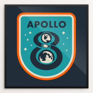 "Apollo 8 by Brian Folchetti 12"" by 12"" Print / Framed Print Space Horizons"