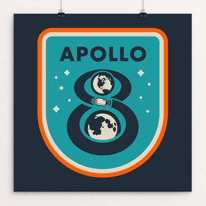 "Apollo 8 by Brian Folchetti 12"" by 12"" Print / Unframed Print Space Horizons"