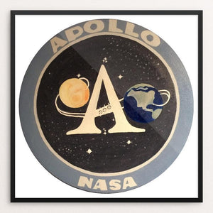 "Apollo Mission Program Patch by Bryan Bromstrup 12"" by 12"" Print / Framed Print Space Horizons"