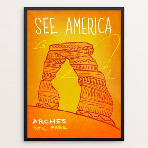"Arches National Park by Kendall 12"" by 16"" Print / Framed Print See America"