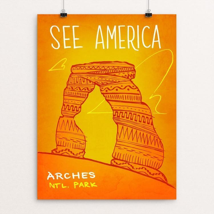 "Arches National Park by Kendall 12"" by 16"" Print / Unframed Print See America"