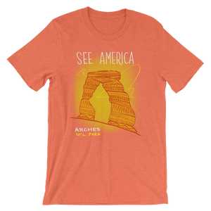 Arches National Park T-Shirt by Kendall XS / Men's / Orange T-Shirt See America