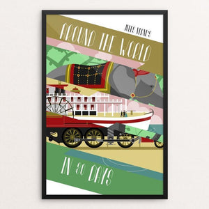 "Around the World in 80 Days by Carl Perks 12"" by 18"" Print / Framed Print Recovering the Classics"